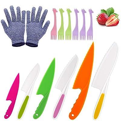 LEEFE 6 Pieces Kids Knife Set for Cooking, with Gloves and Plastic Forks, Safe Lettuce and Salad Knives, Kids Cooking Utensils in 6 Sizes & Colors, Serrated Edges, Plastic Safe Kitchen Knife