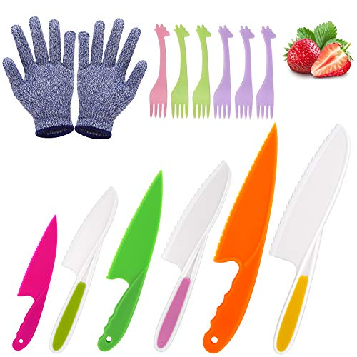 Kids Knife, Joyoldelf 6 Pieces Kitchen Knife Set Plastic Child Safe Knife with 6 Pcs Forks, a Pair of Protective Gloves, Salad Bread Lettuce Knife