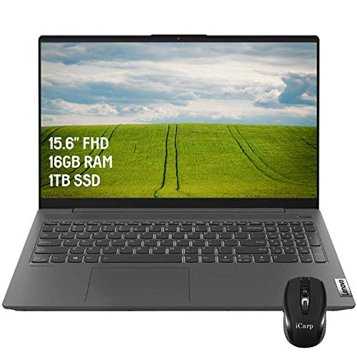 2020 Latest Lenovo IdeaPad 5 15 Laptop 15.6 inch FHD AMD 8-Core Ryzen 7 4700U (Beats i7-10510U) 16GB RAM 1TB PCIe SSD Backlit KB FP Dolby Audio Win 10 + iCarp Wireless Mouse