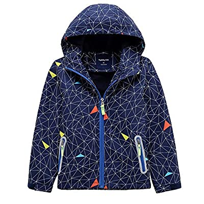 EZ-Joyce Boys Fleece Rain Jackets Lightweight Waterproof Hooded Outwear Raincoat 150 Navy
