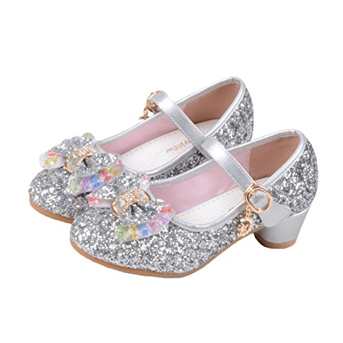 O&N Prinzessin Gelee Partei Absatz-Schuhe Sandalette Stöckelschuhe für Kinder(Size 35 EU) Silber