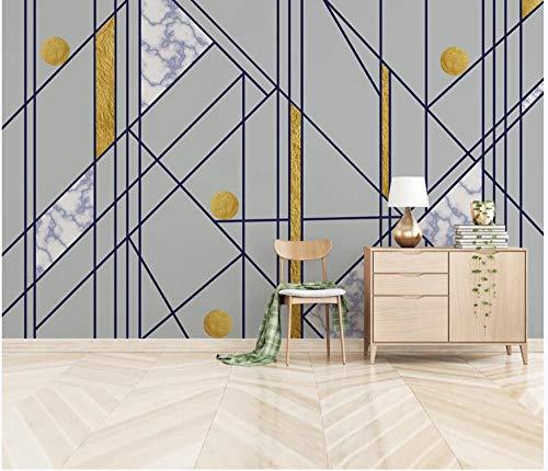 Fototapete 250x175 cm - 5 Streifen Blaue geometrische Figur 3D Vlies Wand Tapete Wohnzimmer Schlafzimmer Büro Flur Dekoration Wandbilder XXL Moderne Wanddeko