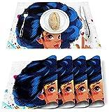 Tovagliette Set di 4 donne nere africane Pittura graffiti Tovagliette in poliestere resistenti alle macchie Tovagliette lavabili Decorazione per casa, cucina, ufficio Cartone animato