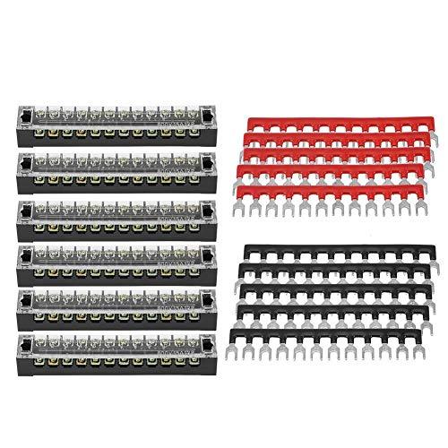 Alupre 5 Stück Doppelreihig 12 Positionen 600 V 15 A Schraubklemmen + vorisolierte Terminal Barrier Strip