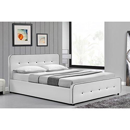 JFB Le Balder - Structure de lit capitonnée Blanc avec Coffre de Rangement et sommier - 140x190 cm