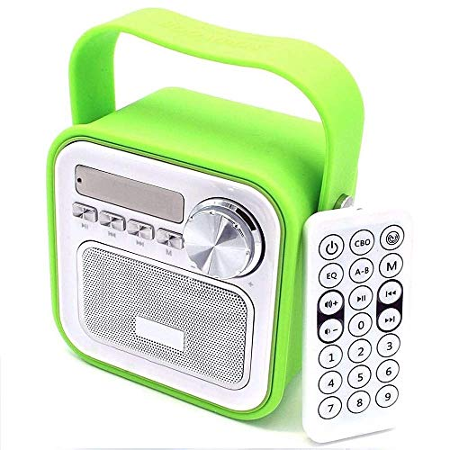 Küchenradio Badradio Grün Mini Bluetooth Lautsprecher mit Radio FM Fernbedienung Dusche Kinderradio Badezimmer Bad Aux Retro USB Anschluss für Küche Uhrzeit tragbar klein Bass Duschradio Vintage Kind