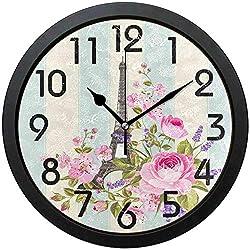 Silent Farmhouse Wall Clock-Kids Room Wall Clock-Romantic Eiffel Tower Flowers Elegant Stripe Round Wall Clock Decorative, Battery Operated Quartz Analog Quiet Desk Clock for Home,Office,School,10in