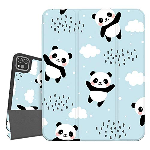 Hepix iPad Pro 12.9 Case Panda Blue iPad 4th/3rd Gen Case 2020 & 2018 with Stylus Holder, Animal Full-Body Trifold Stand Protective Smart Shockproof Cover Auto Sleep Wake for A2229 A2069 A2032 A2233