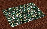 ABAKUHAUS Gatti Tovaglietta Americana Set di 4, Gattini a Tema Nocturnal, Tovagliette in Tessuto Lavabile per Tavolo da Pranzo, Multicolore