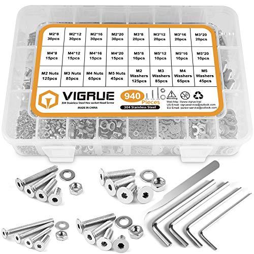 VIGRUE 940Pcs M2 M3 M4 M5 Schrauben Set, Innensechskant Gewindeschrauben Set mit Muttern Unterlegscheiben und Innensechskantschlüsseln in Sortimentskasten