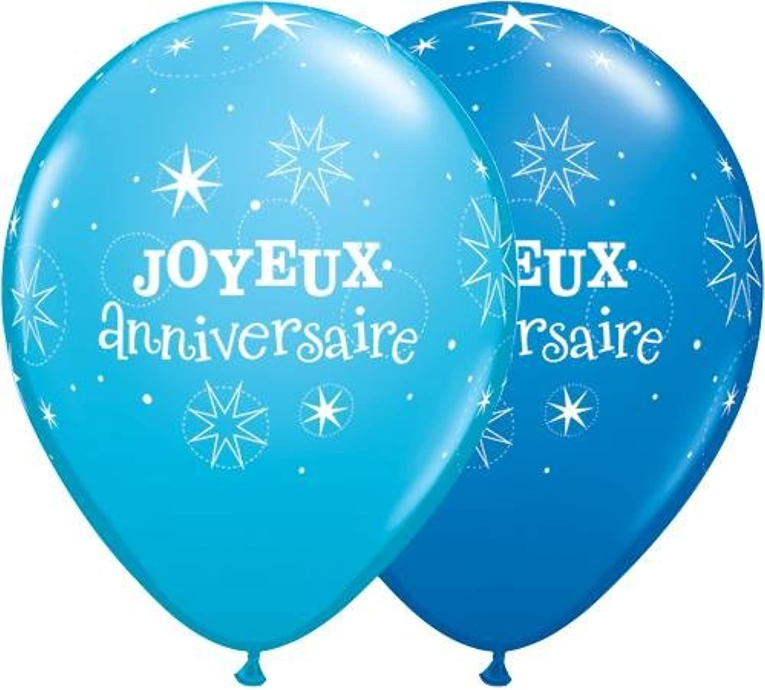 Qualatex 115.051,8cm Joyeux Anniversaire brillante rossoondo blu scuro Robin Egg ptuttioncini in lattice, 27,9cm, pezzi
