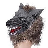ZWRY Máscara Halloween Máscaras de Fiesta Máscara de Hombre Lobo de Halloween Horror Cubierta de Cabeza de Lobo Vestido de Halloween Disfraz Decoración de Fiesta Accesorios Marrón