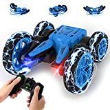 Stunt Car Toy, 4WD 2.4Ghz Remote Control Car Double Sided Drive 360° Rotating & Tumbling RC Cars, High Speed, Cool Lights, Off-Road Racing Vehicle Gift Toy Cars for 8+ Girls and Boys, Blue