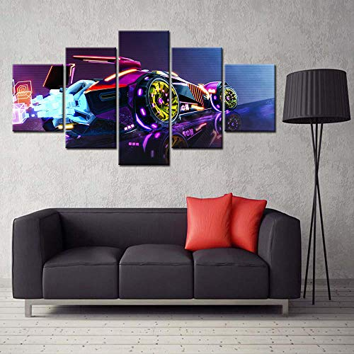 YOPLLL Bilder Vlies Leinwandbild 5 TLG Kunstdruck Modern Wandbilder XXL Wanddekoration Design Wand Bild Rocket League Videospiel 150X80 cm (Gerahmt)