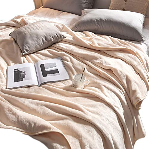 TXXM Fluffy Blankets Double/many Sizee - Super Soft Fleece Bedspread Blanket Flannel Microfiber Sofa Bed Blankets (Color : Beige, Size : 150 * 200cm)