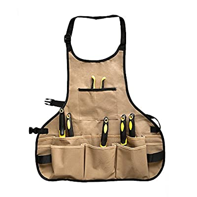 BOJECHER Tool Apron - Professional Heavy Duty Work Apron with 14 Pockets, Fully Adjustable Water-Resistant Gardening Woodshop Aprons for Men & Women, Carpenters Bakers and Machinists