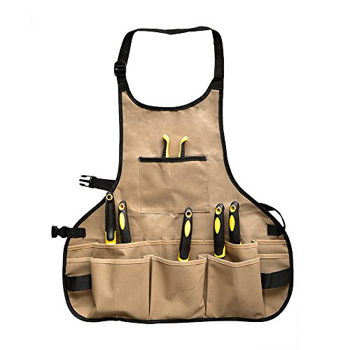BOJECHER Garden Tool Apron - Professional Heavy Duty Work Apron with 14 Pockets, Fully Adjustable Water-resistant Gardening Utility Aprons for Men & Women, Carpenters Bakers and Machinists