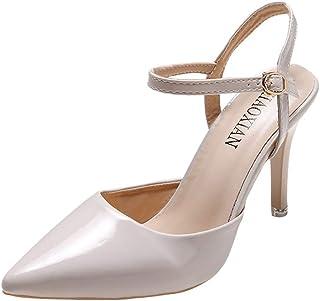Escarpins à Plateforme Femme Mode Couleur Unie Cuir Talon Haut Bout Pointu Sandales à Boucle Chaussures de Bureau Romain...