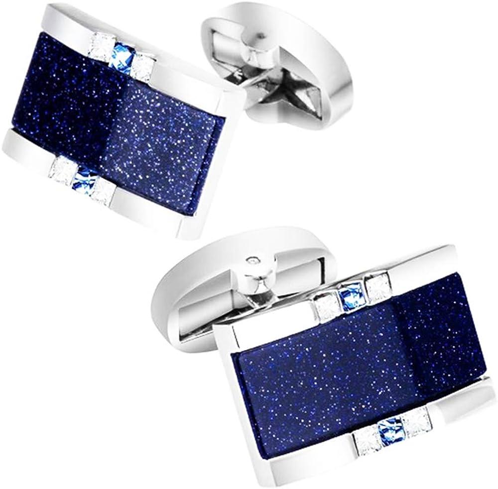 BXLE Romantic Starry Sky Cufflinks Set, Galaxy Dark Night Blue Star Cuff Links, Sparking Blingbling Shirt Studs, Elegant Cuff Button Jewelry for Young Men's Wedding Wear in Gift Box