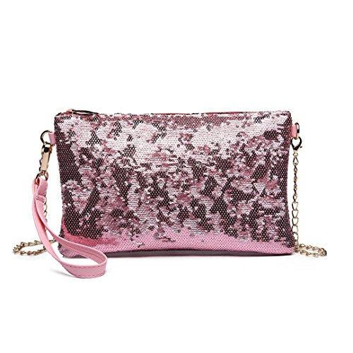 Miss LuLu Damen Handtasche Clutch Bag Unterarmtasche Party Hochzeit Abendtasche Kettentasche Umhängetasche glitzernd (LH1765-Pink)