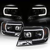 For 1999-04 Jeep Grand Cherokee Full LED Daytime Running Lamp Bar Projector Headlights Black Housing Clear Lens Set