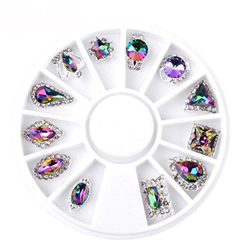 Sensail Carrousel 3D Strass Rose Dore Rivet Perle Metal Punk Bijoux Cristal Pour Decoration Ongles Nail Art Manucure (C)