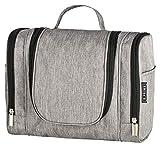 B.PRIME Kulturbeutel Classic XL Grau – Premium Kulturtasche mit extra viel Stauraum zum Aufhängen – Maße der Waschtasche 28x13x22cm