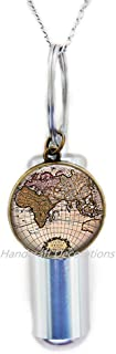 HandcraftDecorations Map Cremation URN Necklace-World Map Jewelry-Globe Cremation URN Necklace-World Globe URN-Globe Charm-Gifts for Travelers-Glass Cremation URN Necklace.F115