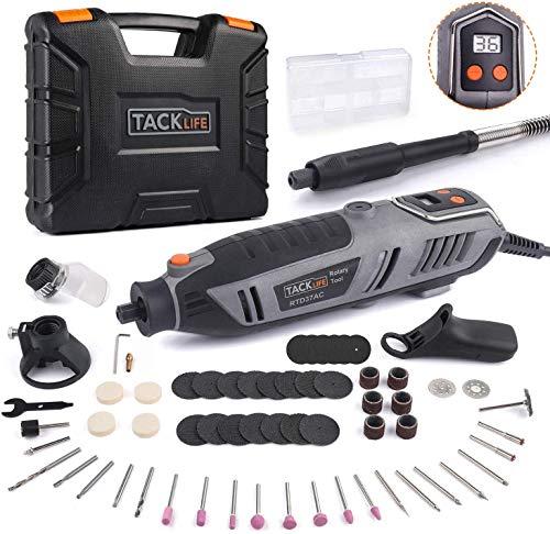 Tacklife RTD37AC Multifunktionswerkzeug 200 Watt mit 64-tlg. Zubehör-Set, Biegsame Welle, Ideal für Heimwerkerarbeiten (inkl. Werkzeugkoffer, Leerlaufdrehzahl: 10000-40000 U/min)