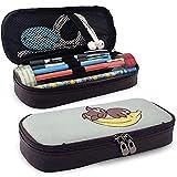 Estuche de lápices de cuero de la PU Sloth Banana Pattern Bolso de la pluma Bolso de la bolsa de maquillaje cosmético del lápiz