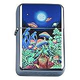 Abstract Mushroom ALien Flip Top Oil Lighter Em1 Smoking Cigarette Silver Case Included