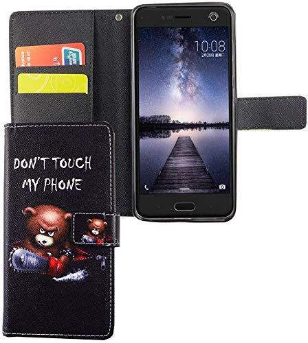 König Design Handyhülle Kompatibel mit ZTE Blade V8 Handytasche Schutzhülle Tasche Flip Case mit Kreditkartenfächern - Don't Touch My Phone Bär mit Kettensäge