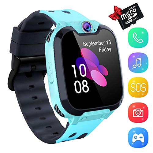 YENISEY Kids Smartwatch Music Player - 1.54 inch HD Touchscreen, HD Camera Two-Way Call SOS Anti-Lost Calculator, Wristband Games Watches for Boy Girl[1GB SD Card Included]