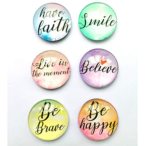 Motivational inspirational quote Refrigerator Magnets set of six 4x4cm gifts for kids girls friend students classroom Whiteboard Locker Magnets
