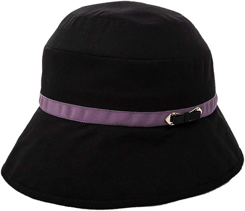 Teng Peng Sun hat  Summer Outing Folding Breathable UV Visor Ladies Fisherman hat Lady Outdoor Sun hat (color   Black)