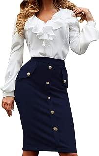 Fonma Women High Waisted Pencil Club Skirt Bodycon Button Pocket Skirt