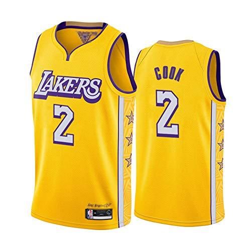 TGSCX Men's NBA Basketball Jersey Los Angeles Lakers 2# Cookl Cómodo/liviano/Transpirable Malla Bordada Swing Swing Sworing Sweatshirt,XXL