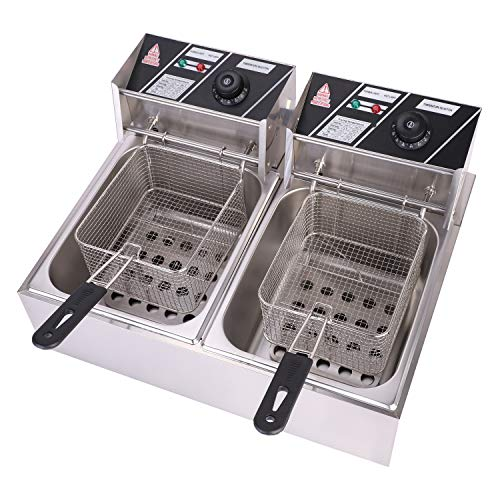 OLYM STORE Electric Deep Fryer w/Basket & Lid, Countertop Kitchen Frying...