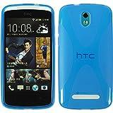 PhoneNatic Hülle für HTC Desire 500 Hülle Silikon blau X-Style Cover Desire 500 Tasche + 2 Schutzfolien