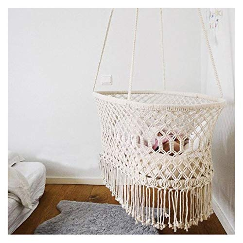 YOGANHJAT Hanging Crib in Macrame Hanging Swing Seat Hammock Chair for Infant to Toddler Cotton Rope Weaved Nursery Decor Girl Birthday Gift 35.429.5in