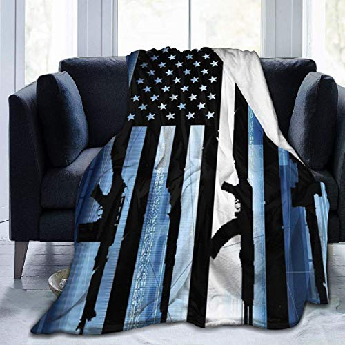 Manta American Flags and Guns Flannel Fleece Thin Blanket Throw para Hombres Mujeres Super Soft Cozy Blankets Fall Spring-All Season153 * 127Cm