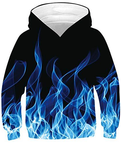 SunFocus Felpa con Cappuccio 3D Unisex Ragazzi Ragazze Divertente Grafica Stampata Fiamma Blu Bambini Felpe Nere Casuale Sweatshirt Hoodies a Manica Lunga Pullover con Tasca L