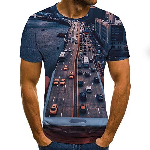 EROOXX T-Shirt con Stampa 3D Avenue di Creative Car, t-Shirt Casual Girocollo a Maniche Corte da Uomo, Maniche Corte Casual Personalizzate-XXXXXL