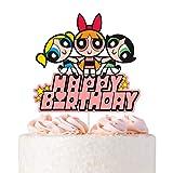 Powerpuff Girls Cake Topper - Happy Birthday Cartoon Cake Decoraitons for Children's Birthday Baby Shower Party Decorations Supplies