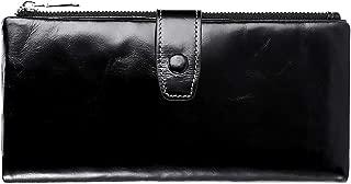 Wallets for Women RFID Bifold Blocking Womens Wallet Large Capacity Minimalist with Zipper Pocket Luxury Wax Genuine Leather Phone Passport Clutch Wallet Wristlet Ladies Purse (Bright black)