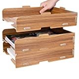 Tonsmile Office Wooden Stationery Desk File Rack Tray Storage Sorter Holder Organiser for Letters, A4 Papers, Books and Documents