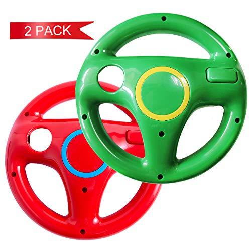 DOYO 2 Stücke Rot und Grün Wii Lenkrad wii controller für Nintendo Switch,Lenkrad Racing Wheel für Mario Kart,Panzer,mehr Wii oder Wii Lenkspiele,Kunststoff Spiel Fernbedienung Spielzubehör