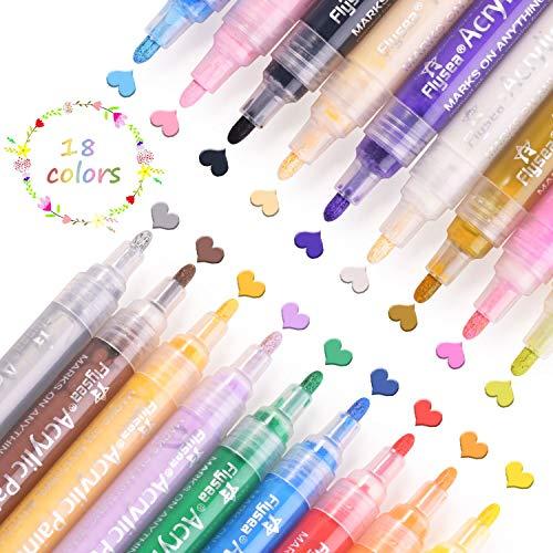 Rotuladores de Pintura Acrílica, 12 Colores Permanente Marcadores Dibujar, para Piedra, Roca, Tela, Metal, Vidrio, Diseñar Taza de Cerámica, Scrapbooking (18 color)