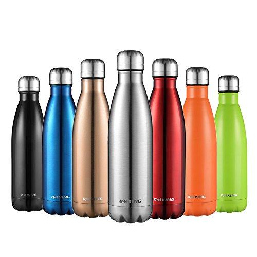 CMXING Botella De Agua 350ML/500ML/750ML de Doble Pared con Aislamiento de Botella de Agua de Acero Inoxidable para Mantener Sus Bebidas Caliente y Fría, Deportiva Botella Acero Inoxidable Tér