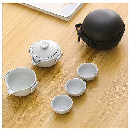 Juego de té de cerámica de Viaje, Conjunto de té portátil con Bolsa de té de cerámica China para el Hotel de Negocios de Picnic al Aire Libre,A